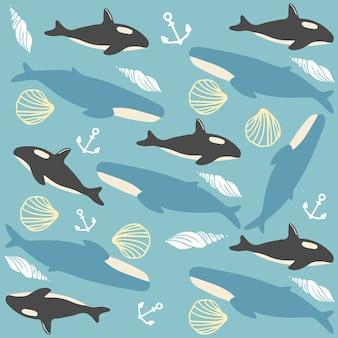 Modello senza cuciture di vita marina della balena