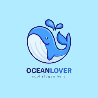 Modello di logo di whale ocean lover