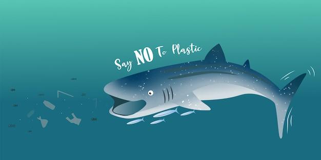 Squalo balena che mangia i pezzi di fondo di plastica dell'insegna