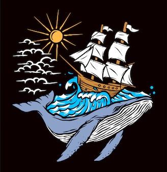 Illustrazione di balene e navi