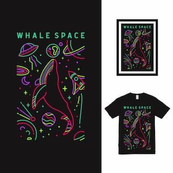 Design della maglietta whale space line art