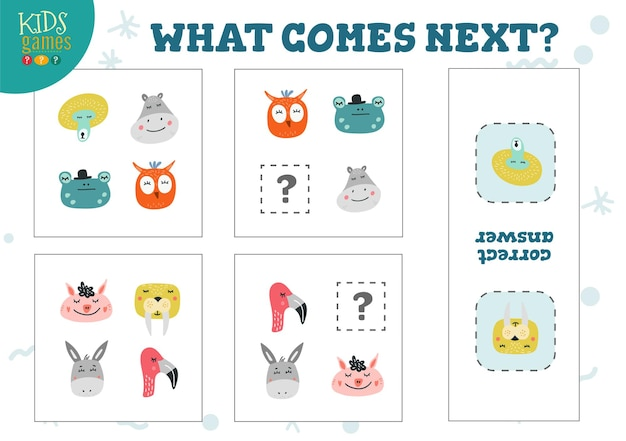 Cosa viene dopo il gioco per bambini in età prescolare. attività di quiz di logica con gufo simpatico cartone animato, fenicottero, scimmia