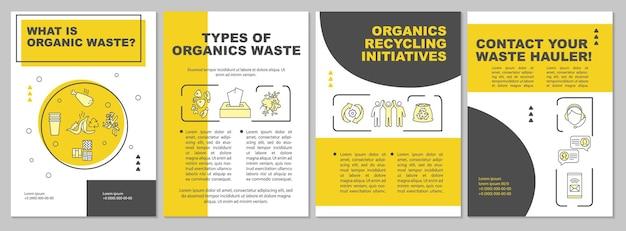 Qual è il modello di brochure dei rifiuti organici. iniziativa per il riciclaggio dei prodotti organici. volantino, opuscolo, stampa di volantini, copertina con icone lineari.