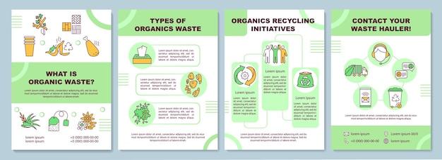 Qual è il modello di brochure dei rifiuti organici. tipi di rifiuti organici. volantino, opuscolo, stampa di volantini, copertina con icone lineari. layout per riviste, relazioni annuali, manifesti pubblicitari