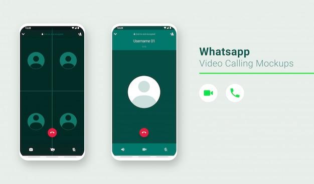 Interfaccia utente per videochiamata whatsapp messenger, interfaccia utente per chiamate di gruppo