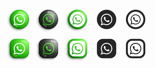 Whatsapp 3d moderno e set di icone piatte