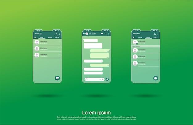 Interfaccia del modello di chat dello schermo di whatsapp