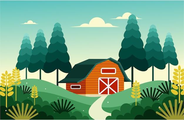 Fienile di grano in campagna all'alba