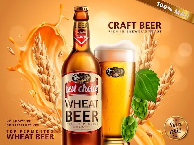 Annunci di birra di frumento, bottiglia di birra e bicchiere con birra attraente e ingredienti dietro di loro, illustrazione 3d su superficie bokeh glitterata