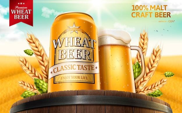 Illustrazione di annunci di birra di frumento