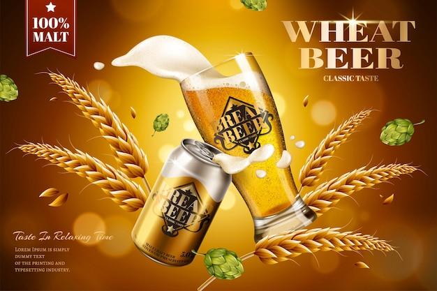 Annunci di birra di frumento con ingredienti su sfondo bokeh in illustrazione 3d