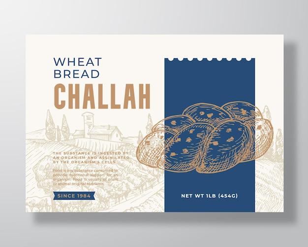 Modello di etichetta di pane challah di grano astratto vettoriale packaging design layout moderno tipografia banner ...