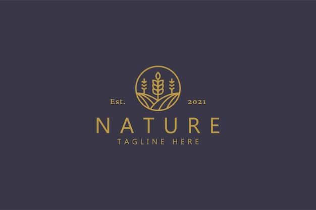 Modello di logo di agricoltura naturale di fattoria di grano