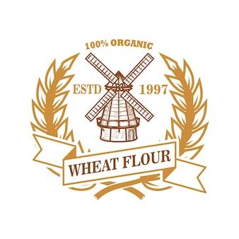 Modello di etichetta di farina di frumento con mulino a vento