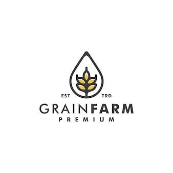 Logotipo di vettore di progettazione di logo di fattoria di grano di grano