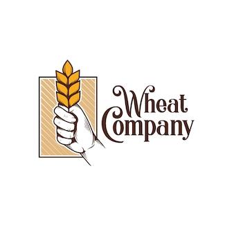 Modello di logo a mano di grano