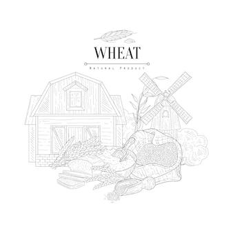 Schizzo realistico disegnato a mano di logo del prodotto naturale del grano
