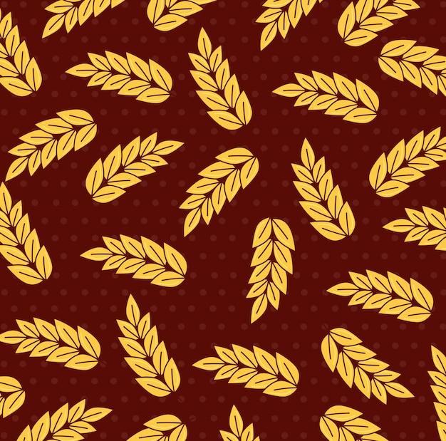Spighe di grano, sfondo di raccolta di spighe Vettore Premium