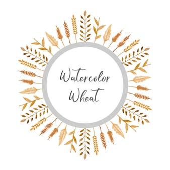 Wheat watercolor wreath