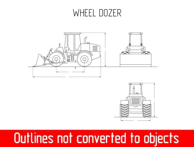Bulldozer ruota contorno blueprint vettore dimensione e dimensioni altezza e larghezza
