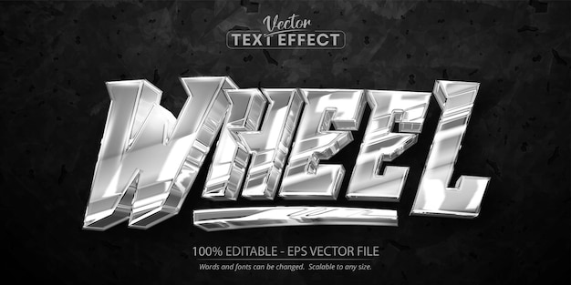 Effetto testo modificabile a ruota, colore argento lucido e stile carattere metallico