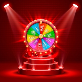 Ruota della fortuna in passerella. isolato su sfondo rosso. illustrazione vettoriale