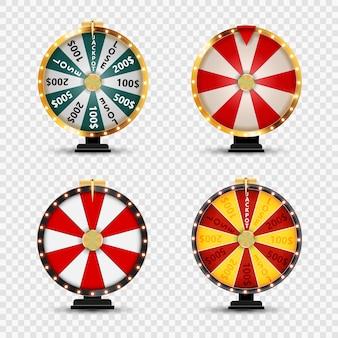 Collezione wheel of fortune su sfondo trasparente