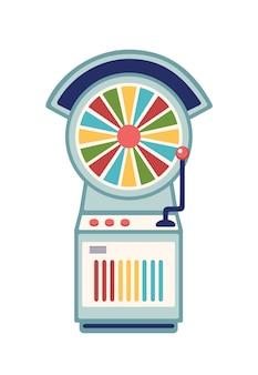 Ruota della fortuna piatta illustrazione vettoriale. slot machine del casinò con ruota che gira multicolore e braccio di leva isolato su priorità bassa bianca. ricreazione del parco di divertimenti, elemento di design del gioco d'azzardo.