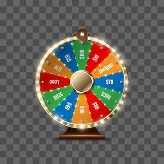 Ruota della fortuna per giocare e vincere il jackpot isolato su sfondo trasparente