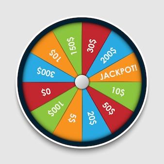 Ruota della fortuna con premi in denaro vincenti alla lotteria gioco fortunato del vincitore della roulette d'azzardo