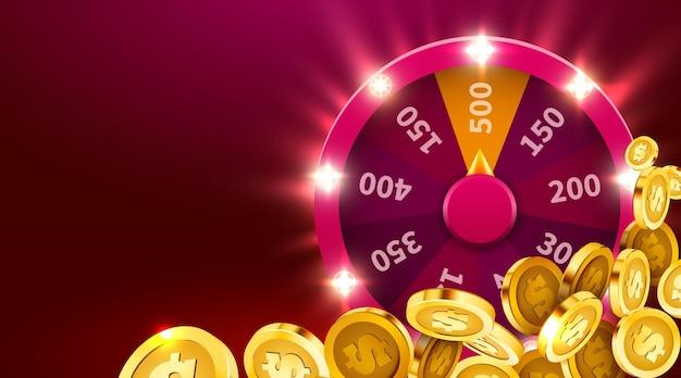 Ruota della fortuna o della fortuna con monete che cadono. scommesse tempo libero. ruota da gioco colorata.