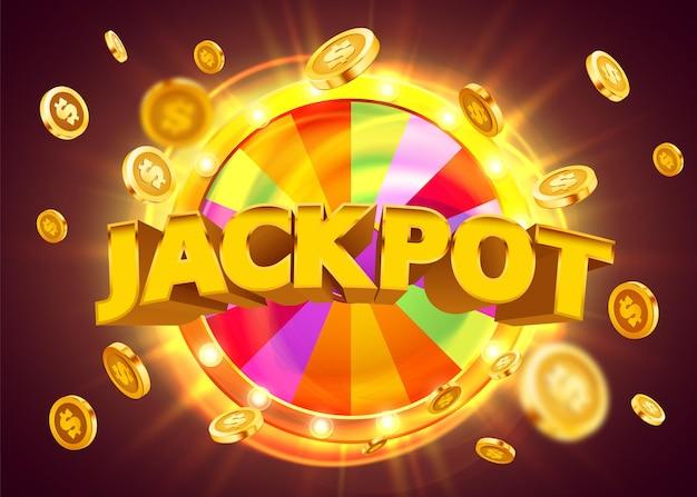 Ruota della fortuna o della fortuna con lo sfondo del concetto di premio jackpot di monete che cadono