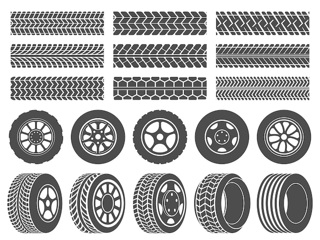 Pneumatici per ruote. le piste del battistrada, le icone delle ruote di corsa del motociclo e le ruote sporche seguono l'insieme dell'illustrazione