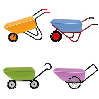 Carriola per il giardino su ruote, illustrazione vettoriale isolata a colori