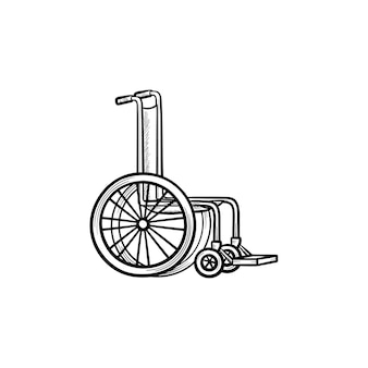 Icona di doodle di contorni disegnati a mano su sedia a rotelle