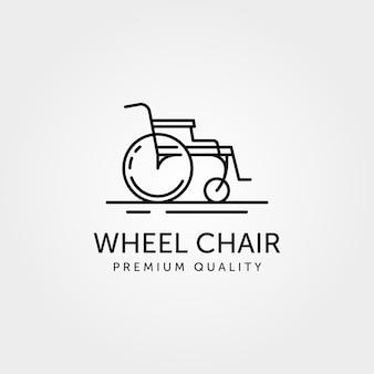Sedia a rotelle linea arte logo semplice design minimalista