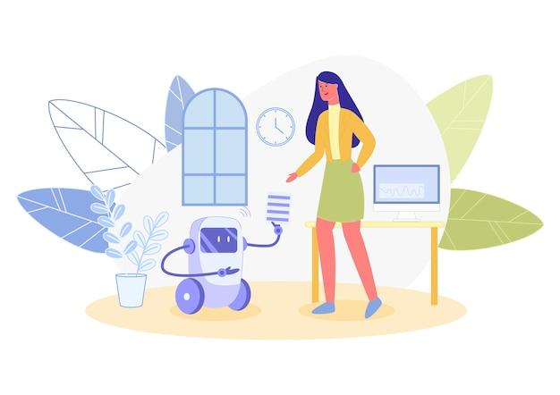 Robot su ruote come aiutante intelligente per business lady