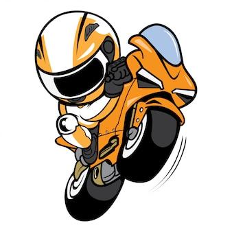 Vettore del fumetto del cavaliere del motociclo di impennate