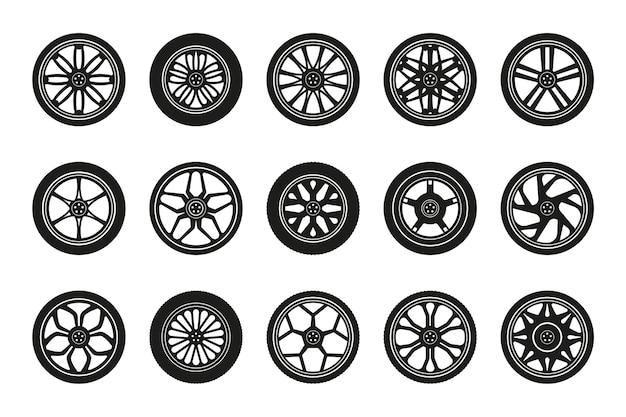 Collezione di icone di ruote. sagome di pneumatici per auto e cerchioni. illustrazione vettoriale.