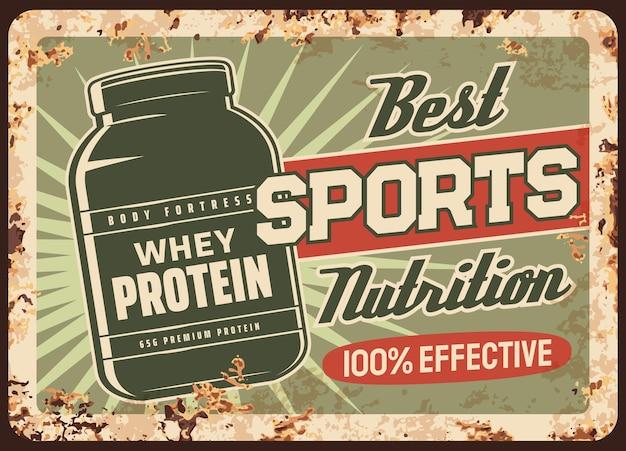 Piatto arrugginito di proteine del siero di latte