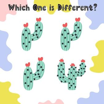 Qual è la pagina delle attività diversa per i bambini. trova il diverso foglio di lavoro del cactus. gioco di puzzle per i più piccoli.