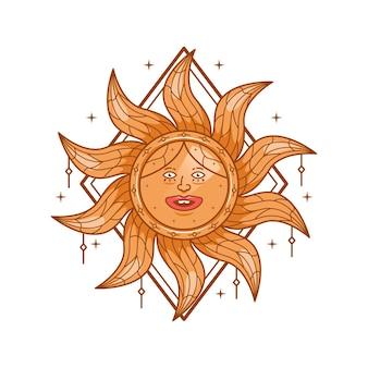 Illustrazione della maglietta del personaggio di fantasia magica del sole carino divertente capriccioso