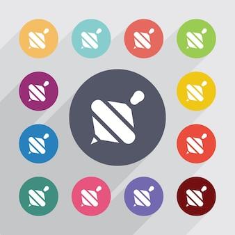 Whirligig, set di icone piatte. bottoni colorati rotondi. vettore