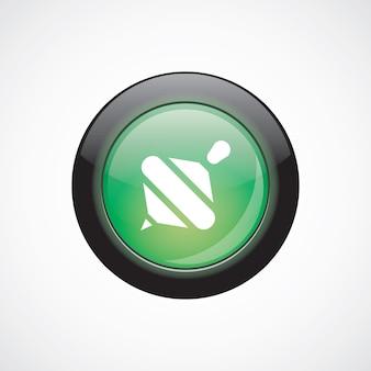 Whirligig vetro segno icona pulsante lucido verde. pulsante del sito web dell'interfaccia utente