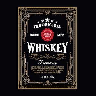 Bordo antico whisky illustrazione vettoriale retrò etichetta incisione occidentale cornice d'epoca