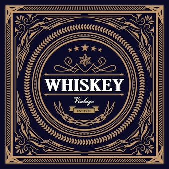 Whisky label design vintage retrò illustrazione vettoriale