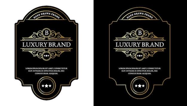 Etichette di whisky con tipografia del logo per l'imballaggio di bottiglie di bevande alcoliche di whisky di birra incisione