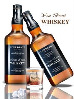 Bottiglia realistica di whisky. design del marchio dell'imballaggio del prodotto. posto per i testi