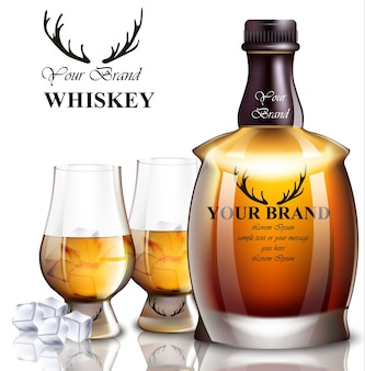 Bottiglia realistica di whisky. design del marchio dell'imballaggio del prodotto