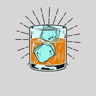 Illustrazione vettoriale di whisky dettagliata e modificabile
